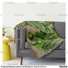 Tropical Banana Leaves on Burlap Throw #bananaleaves #tropicalleaves #botanical #banana #tropicaldecor
