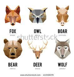 stock-vector-low-polygon-animal-logos-triangular-geometric-set-bear-deer-fox-boar-and-wolf-vector-411558379.jpg (450×470)