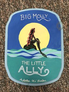 Painted wooden plaque paddle. Big little . Little mermaid. Disney. DIY. Crafted. Blue. Green. Sorority.