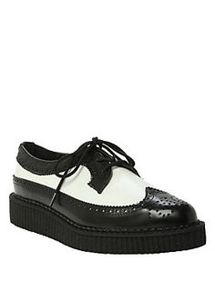 """The original T.U.K. pointed creeper with white and black wingtip design and a 1"""" tall super strong rubber sole unit."""