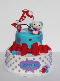 hello kitty at the roller rink buttercream cakes with fondant detail and toppers tfl