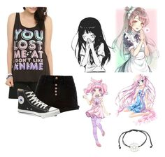 """""""Anime"""" by lucythegr8t ❤ liked on Polyvore featuring River Island, Converse, KOKOKim, cute, love, anime, kawaii and OutfitxLucy"""