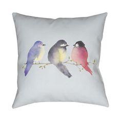 Triple Bird Polyester Throw Pillow
