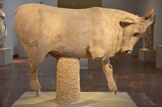 Statue of a bull from the Nymphaeum of Herodes Atticus at Olympia, dating from between 149 and 153 AD (posthumous), on the bull is a votive inscription, Olympia Archaeological Museum, Greece