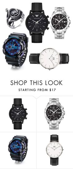 """""""Untitled #25"""" by sophia-thoman ❤ liked on Polyvore featuring beauty, Emporio Armani, TAG Heuer and Daniel Wellington"""