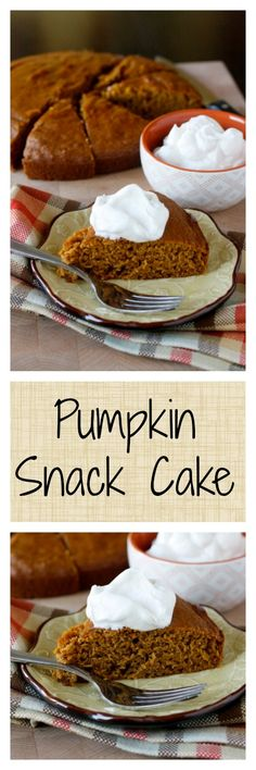 Pumpkin Snack Cake with Homemade Whipped Cream - perfectly spiced, delicious for dessert or an afternoon snack!