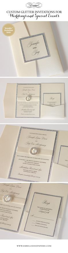 Custom Glitter Wedding Invitations - Ivory metallic pocket folder - Printed on Ivory metallic card stock with Silver Glitter border. Embellished with Ivory ribbon and Crystal Buckle.  Elegant Invitation perfect for Weddings or Special Events.  Colors can be customized. www.embellishedpaperie.com