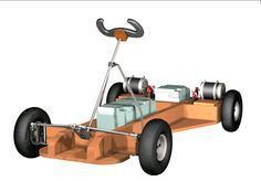 Home built (DIY) small electric buggies and go kart plans - plans for DIY electric kart. Wooden Go Kart, Wooden Cart, Build A Go Kart, Diy Go Kart, Go Karts, Karting, Electric Kart, Soap Box Cars, Wooden Scooter