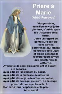 Prière composée par l'abbé Perreyve (1831-1865) Christian Prayers, Blessed Mother Mary, Holy Mary, Catholic Prayers, Prayer Board, Religion, Bible Verses, Zen, Meditation