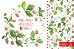 Strawberry wreath. Watercolor - Illustrations