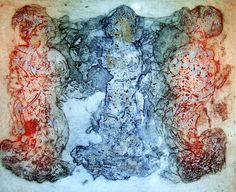 Las tres gracias II/The Three Graces II, Maureen Booth's Acid monoprint etching on a copper plate with  liquid-metal additive, four colors printed by the artist on 360-gram handmade Paperki paper. 30x37 cm., edition of 45. $280