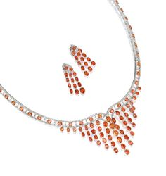 ORANGE SAPPHIRE AND DIAMOND NECKLACE AND PAIR OF MATCHING PENDENT EARRINGS | Lot | Sotheby's