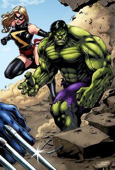 Ms. Marvel & HULK vs. Wolverine (Color) by Marcio Abreu Comic Art