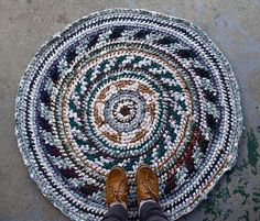 fair isle crochet rug by roses, made from thrifted tshirts. what?