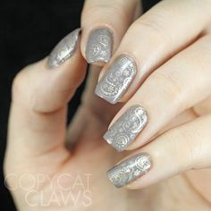 Copycat Claws: Taupe Paisley Nail Stamping