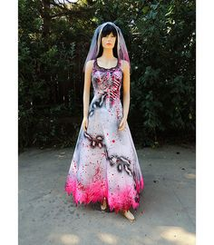 Fresh from the Grave Pretty Pink Brains zombie wedding gown by GraveyardShift13