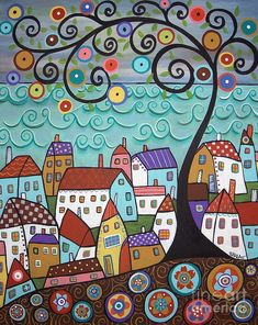Purchase framed prints from Karla Gerard. All Karla Gerard framed prints are ready to ship within 3 - 4 business days and include a money-back guarantee. Karla Gerard, Sea Art, Naive Art, Colorful Paintings, Tree Paintings, Whimsical Art, Rug Hooking, Doodle Art, Art Lessons