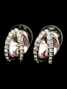 Pink Gemstone Silver Crystal Stud Earrings US$7.18