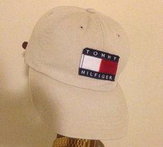 Vintage Tommy Hilfiger leather strapback hat cap beige