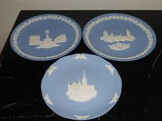 3 WEDGWOOD JASPERWARE BLUE AND WHITE CHRISTMAS PLATES 1971, 1974, AND 1988