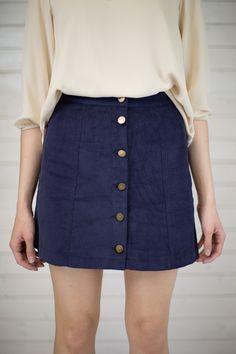 Corduroy Button Up Mini Skirt #shopmaude www.shopmaude.com