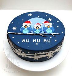 Owl cake eulen fondant torte weihnachten christmas