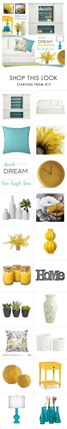 """Sunshine & Blue Skies"" by tawnee-tnt ❤ liked on Polyvore featuring interior, interiors, interior design, home, home decor, interior decorating, Dot & Bo, Brewster Home Fashions, Atipico and The French Bee"