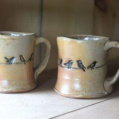 bird mugs, put a bird on it, wood fired pottery by #twopotters