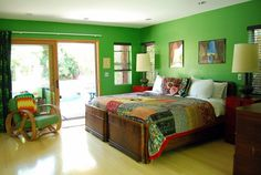 Green bedroom via At Home with Kimi Encarnacion