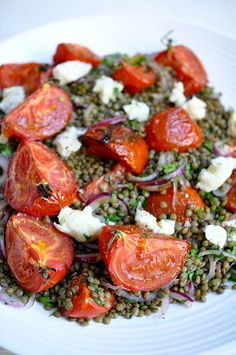 // lentils with tomatoes and gorgonzola