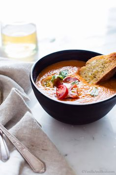 Hearty and rich with just 5 ingredients in this Roasted Red Bell Pepper and Heirloom Tomato Soup. Freeze with ease to preserve for winter days ahead. Vegetarian Soup, Vegan Soups, Vegetarian Recipes, Healthy Recipes, Healthy Eats, Tomato Soup From Scratch, Roasted Red Pepper Soup, Tomato Soup Recipes, Heirloom Tomatoes