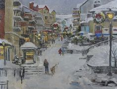 Kay Crain Impressionist Snow Cityscape, painting by artist Kay Crain