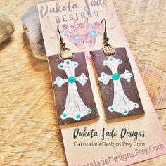 Cross Earrings. Western Earrings. Cowgirl Earrings. Leather Earrings. Turquoise White Cross. Cowgirl Jewelry. Hand Painted. Leather Jewelry