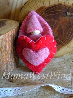 Waldorf Gnome Heart Pouch Pal, Baby Gnome Peg Doll, Girl, Valentine's Day gift, red, pink, wool, wood, eco toy