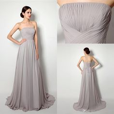 2015 Elegant Real Pictures In Stock Party Dresses Bridesmaid Dress Strapless Floor-length Pleats Chiffon Formal Evening Dresses from Weddingpalace,$51.94 | DHgate.com