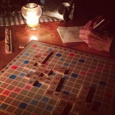 Scrabble by candlelight in Baltimore (From hsquared on Instagram)
