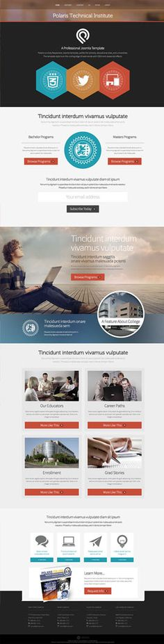 """Polaris is a fully Responsive Joomla template, perfect for schools, educational sites, and universities. The template style is on the cutting edge of web trends with a focus on the current """"Flat"""" design style and the use of CSS3 and Javascript effects."""