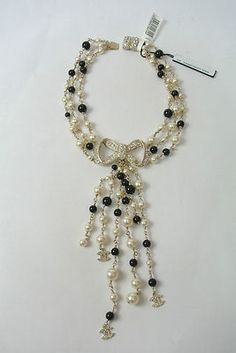 Chanel Bow Pearl Necklace