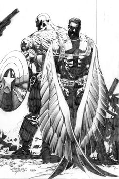 Captain America and the Falcon by Mike Deodato Jr.