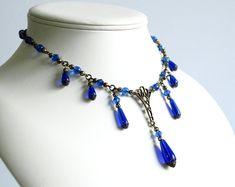 Milady Lorelle Necklace antique bronze & green Victorian | Etsy Blue Necklace, Blue Earrings, Teardrop Earrings, Renaissance Jewelry, Edwardian Jewelry, Titanic, Bronze, Gothic, Fantasy Jewelry