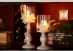 2PCS/lot  retro classic iron metal  candle  holder candle stand holiday home decoration gold+white 2086
