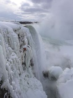 This week Canadian ice climbers Will Gadd and Sarah Hueniken became the first two people to ever climb the frozen 140-ft-high face of the northernmost Horseshoe section of Niagara Falls (Jan. 27, 2015).