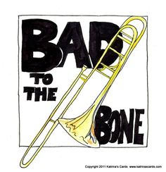 "Package of five ""Bad to the Bone"" note cards with envelopes. Beautiful archival reproductions of Katrina's watercolor and pen and ink art printed on felt pressed recycled card stock. Individually cut and folded by hand. Cards measure x Blank inside Marching Band Jokes, Marching Band Problems, Flute Problems, Music Puns, Music Memes, Music Humor, Funny Band Memes, Band Nerd, Bad To The Bone"