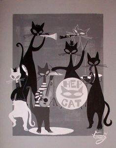 47 Ideas For Painting Cat Mid Century Mid Century Modern Art, Mid Century Art, Jazz Cat, Black Cat Art, Black Cats, Beatnik, Vintage Cat, Retro Art, Crazy Cats