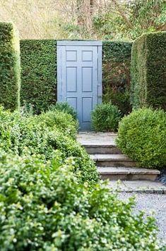 Door hung between a wall of shrubs
