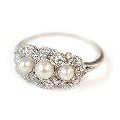 Alice Pearl and Diamond Vintage Engagement Ring circa 1910 | Vintage Engagement Rings | Turtle Love Co. Jewelry