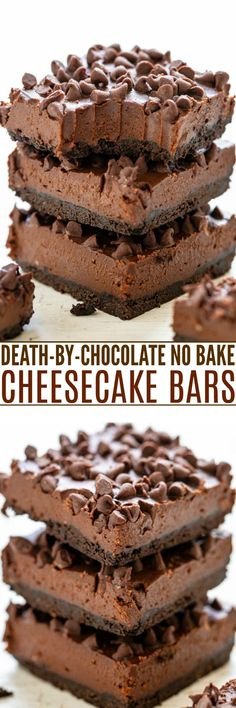 Death-By-Chocolate No Bake Cheesecake Bars – Only for serious chocoholics because they're rich, creamy, decadent, and loaded with chocolate! NO-BAKE and an easy MAKE-AHEAD dessert! bars Death-By-Chocolate No Bake Cheesecake Bars - Averie Cooks Make Ahead Desserts, No Cook Desserts, Easy Desserts, Delicious Desserts, Health Desserts, Brownie Recipes, Cookie Recipes, Dessert Recipes, Bar Recipes