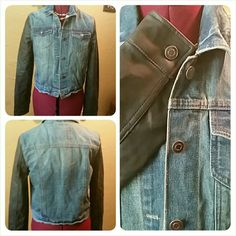 Rue 21 Denim jacket. NWOT. FIRM  Blue denim with long black faux leather sleeves. Jackets & Coats Jean Jackets