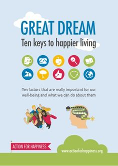 Ten Keys to Happier Living - Guidebook by Action for Happiness via slideshare Action For Happiness, Happiness Project, Choose Happiness, Healthy Mind, Get Healthy, Fresh Beginnings, 100 Happy Days, Ring True, Therapy Tools