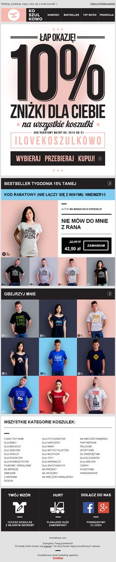 Projekt typograficzny newslettera przygotowany dla Koszulkowo.com / https://panel.sendingo.pl/kampania/8tn / #newsletter #email #ecommerce